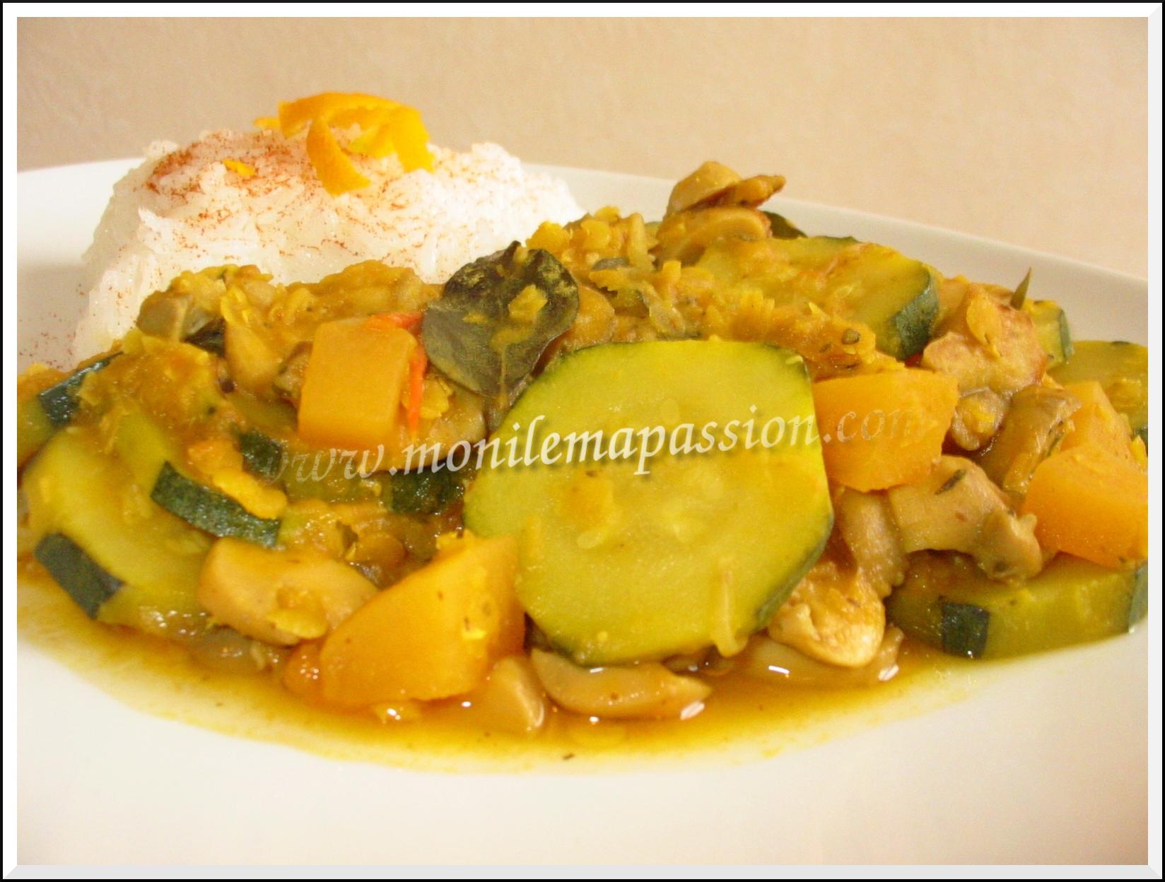 Curry de légumes et lentilles corail au caloupilé