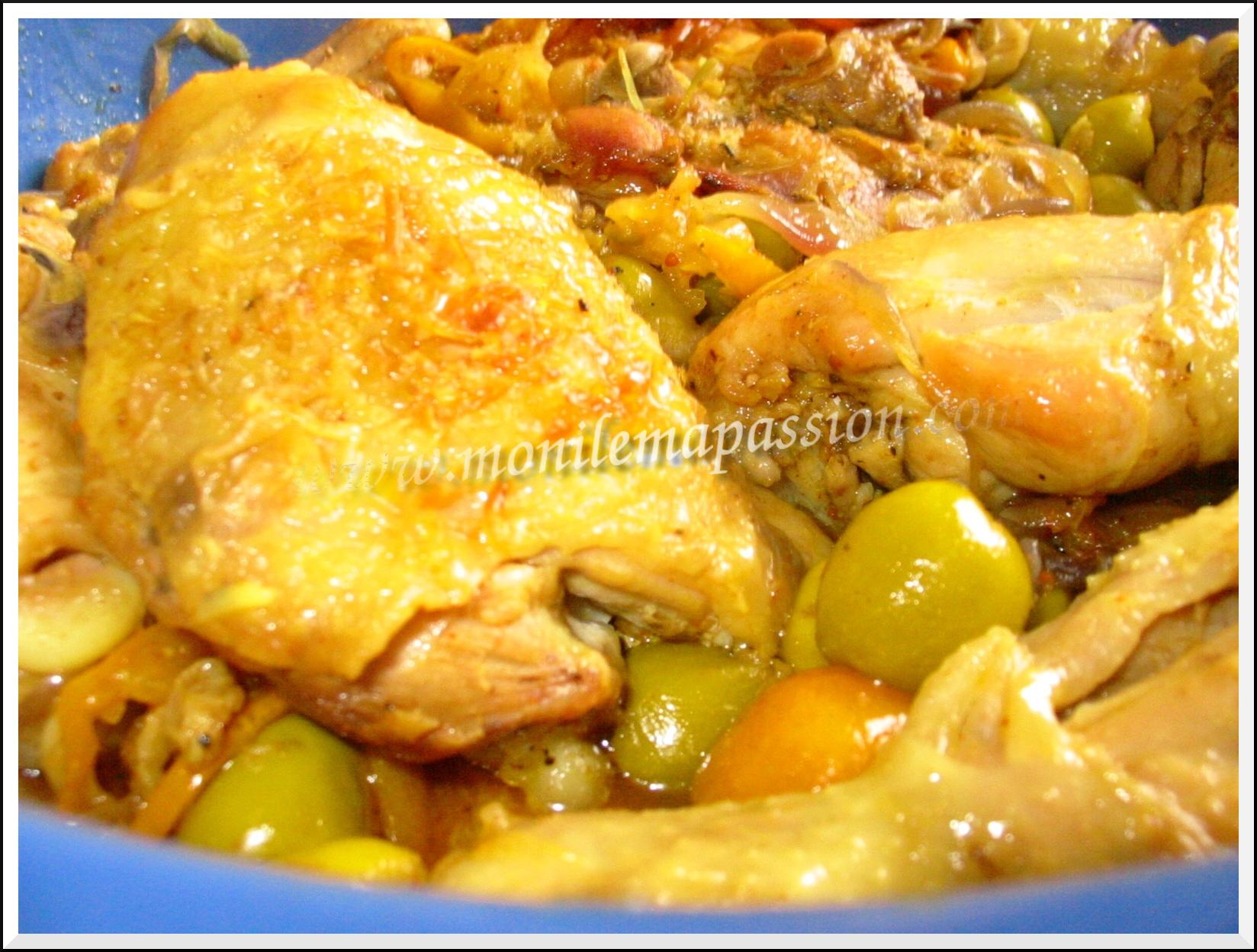Tajine de poulet aux olives et kumquats