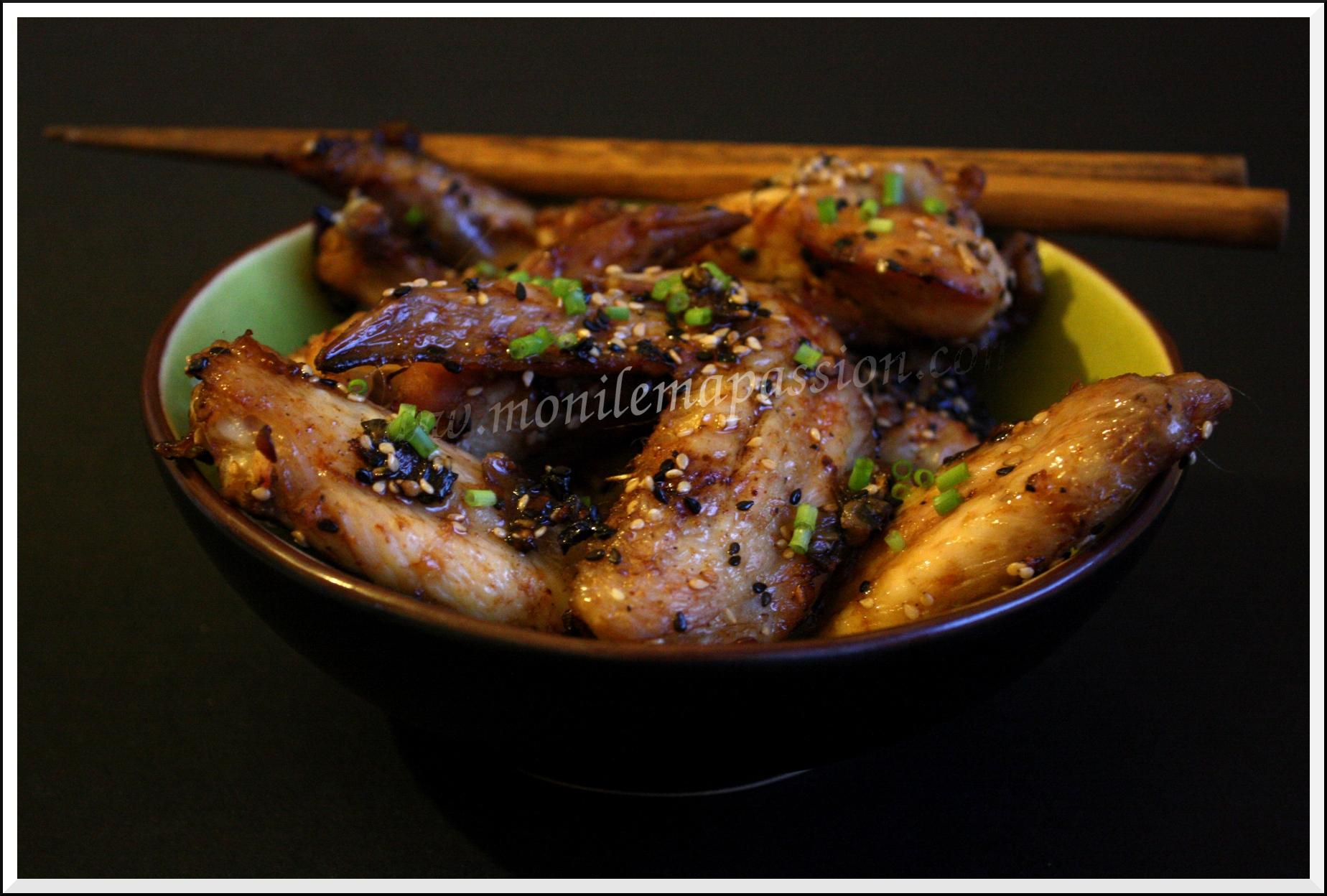 Ailerons de poulet à la sauce Hoisin et aux graines de sésame et nigelle