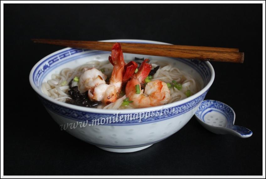 Soupe de nouilles chinoises aux gambas