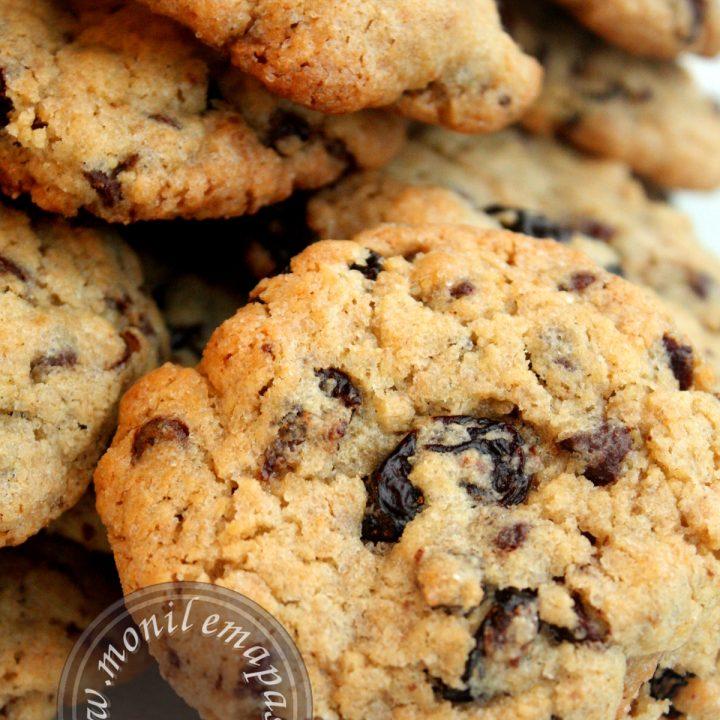 Cookies cerises séchées, pépites de chocolat et noix de pécan