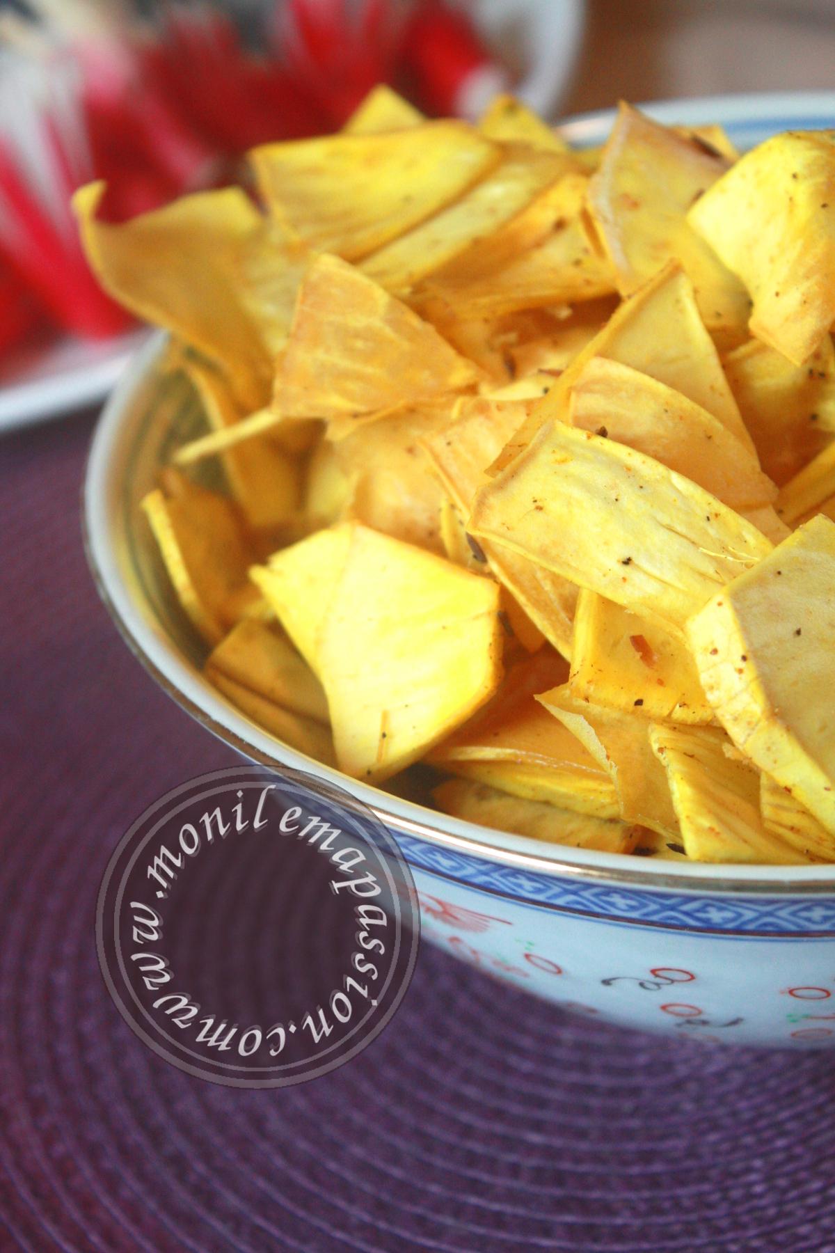 Chips de fruit à pain épicées